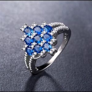 Oval Cut Blue Sapphire 925 Silver Ring